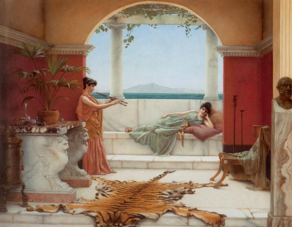 John William Godward Bir Yaz Günü Tatlı Siesta, Kanvas Tablo, John William Godward, kanvas tablo, canvas print sales
