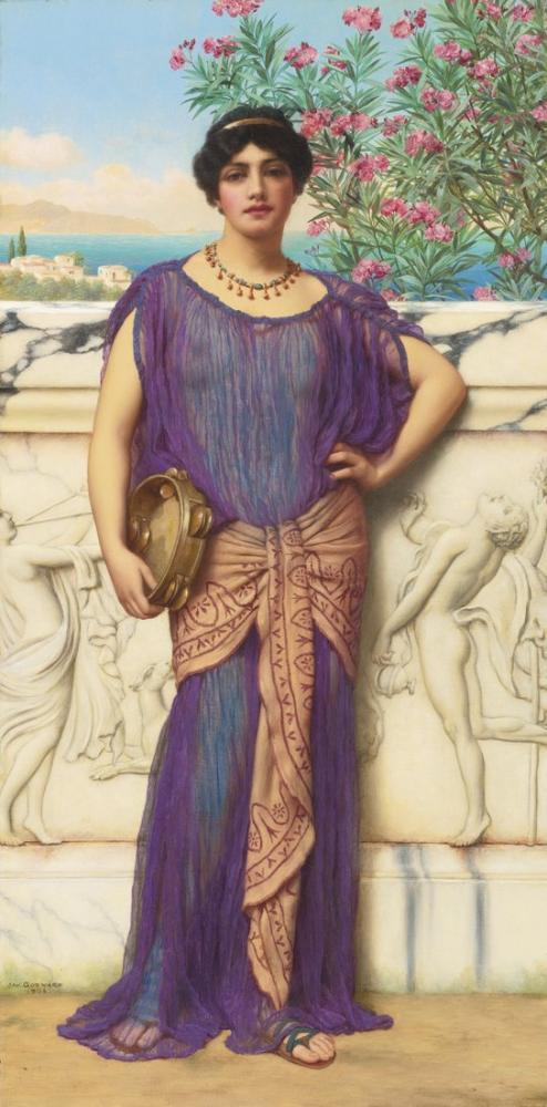 John William Godward The Tambourine Girl 1906, Canvas, John William Godward, kanvas tablo, canvas print sales