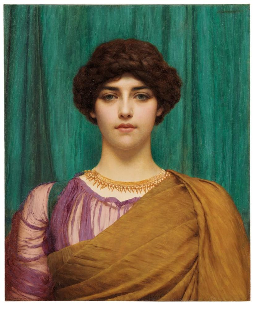 John William Godward Pompeyalı Bir Bayan, Kanvas Tablo, John William Godward, kanvas tablo, canvas print sales