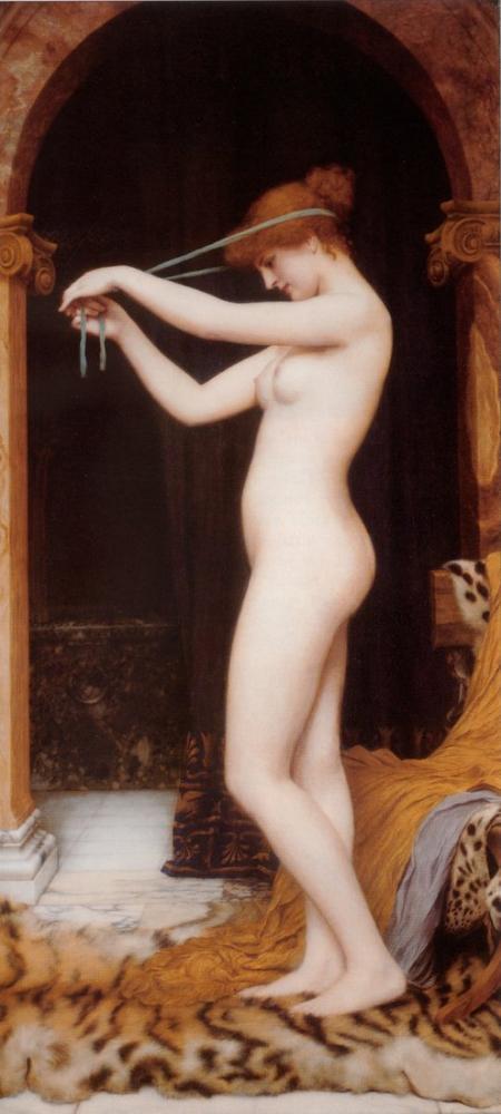 John William Godward Venus Binding Her Hair, Canvas, John William Godward, kanvas tablo, canvas print sales