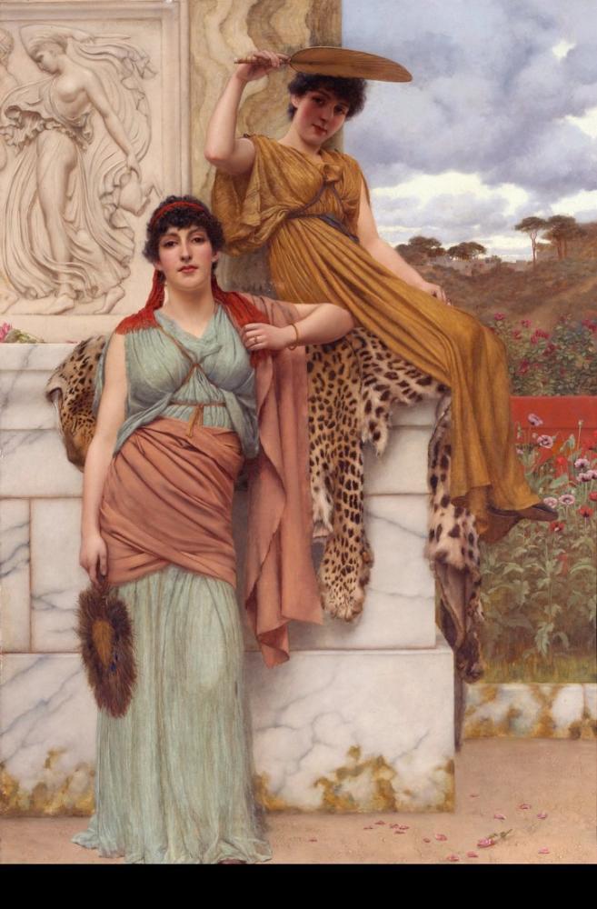 John William Godward Alayı Beklemek II, Kanvas Tablo, John William Godward, kanvas tablo, canvas print sales