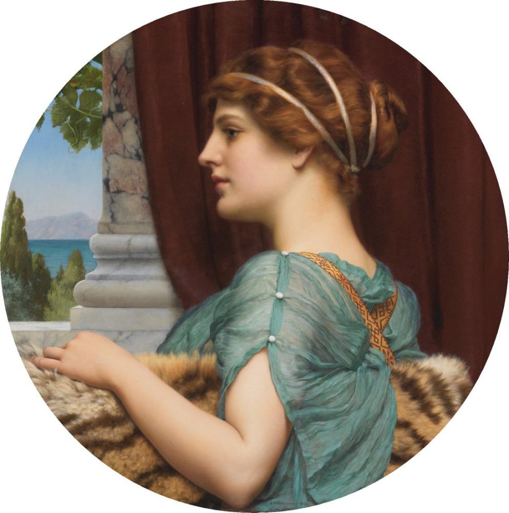 John William Godward Pompeyalı Bir Bayan II, Kanvas Tablo, John William Godward, kanvas tablo, canvas print sales