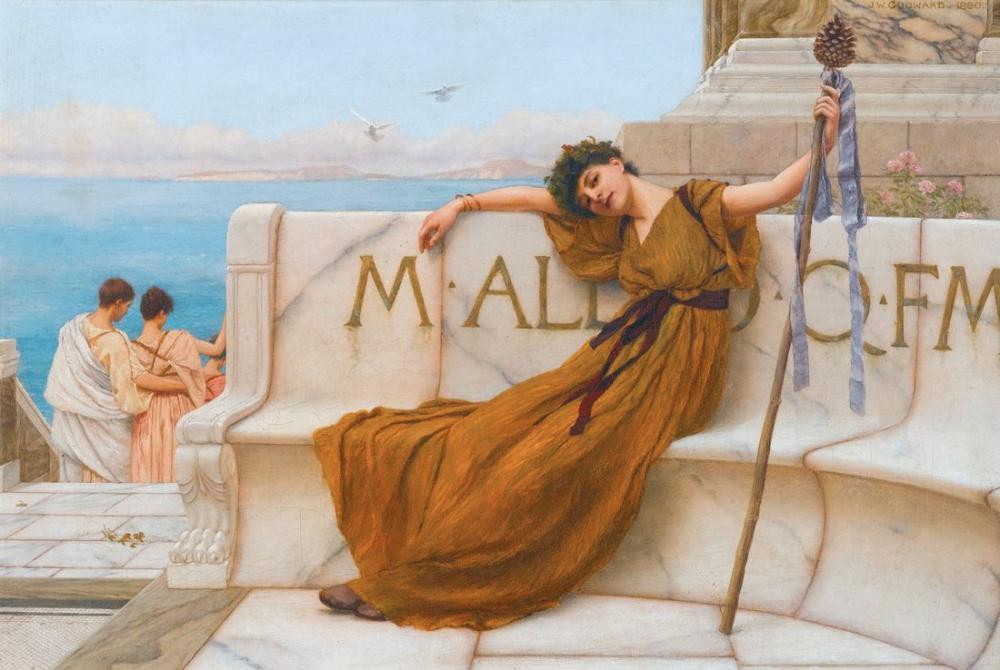 John William Godward A Priestess Of Bacchus, Canvas, John William Godward, kanvas tablo, canvas print sales