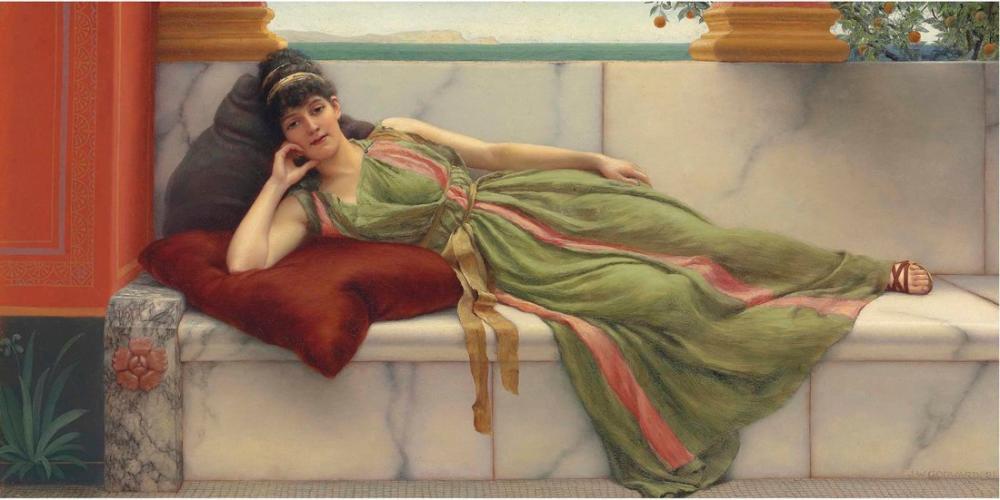 John William Godward A Siesta, Canvas, John William Godward, kanvas tablo, canvas print sales
