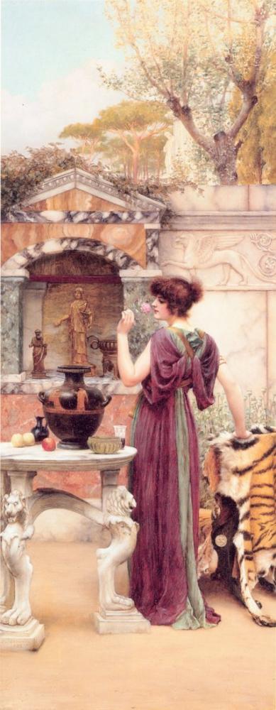 John William Godward Garden Shrine Pompeii, Kanvas Tablo, John William Godward, kanvas tablo, canvas print sales
