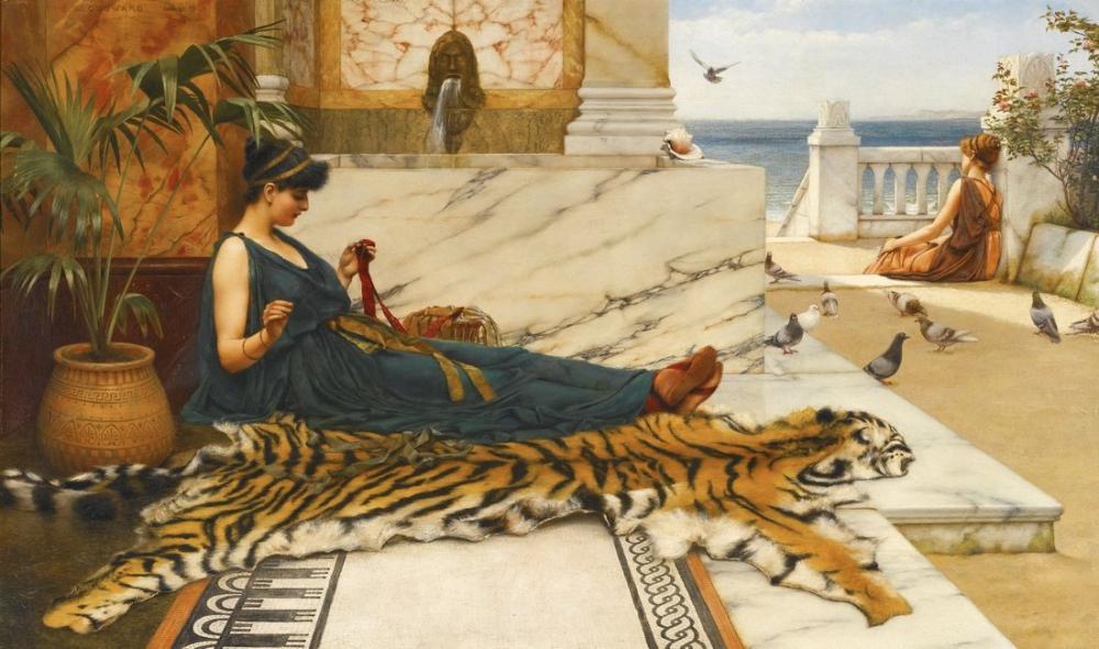 John William Godward Cat, Canvas, John William Godward, kanvas tablo, canvas print sales