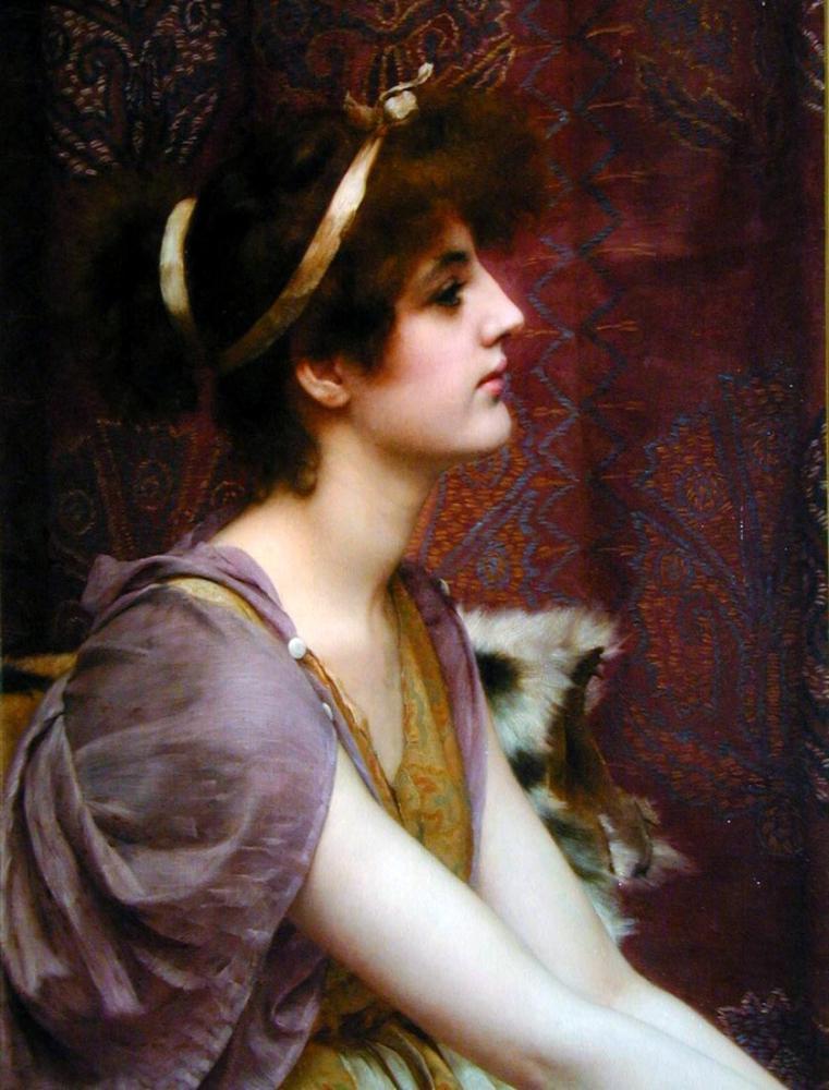John William Godward Klasik Güzellik, Kanvas Tablo, John William Godward, kanvas tablo, canvas print sales