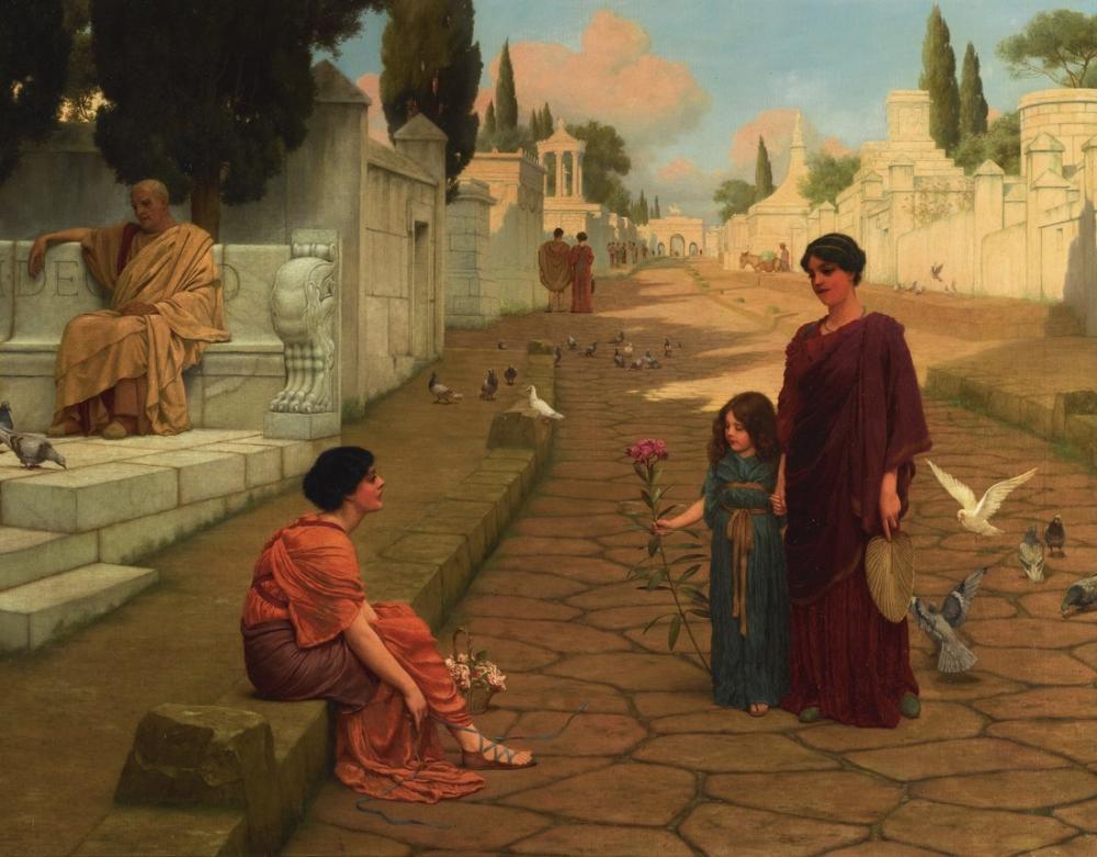 John William Godward Daily Life In Pompeii, Canvas, John William Godward, kanvas tablo, canvas print sales