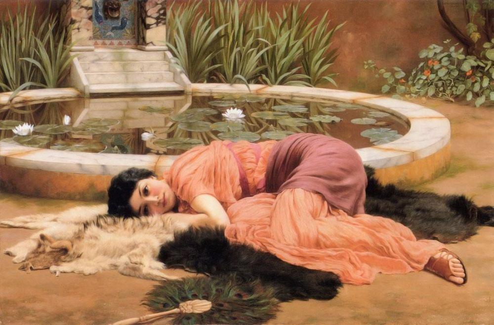 John William Godward Hiçbir Şey Yapmayan Tatlılık, Kanvas Tablo, John William Godward, kanvas tablo, canvas print sales