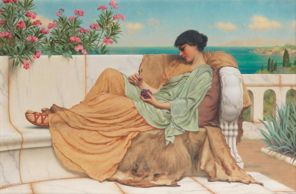 John William Godward Hiçbir Şey Yapmayan Tatlılık II, Kanvas Tablo, John William Godward, kanvas tablo, canvas print sales
