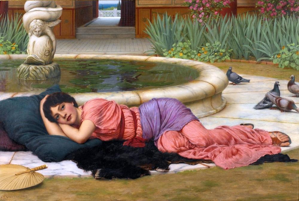 John William Godward Güzel Bir Kafa Dinleme Yeri, Kanvas Tablo, John William Godward, kanvas tablo, canvas print sales