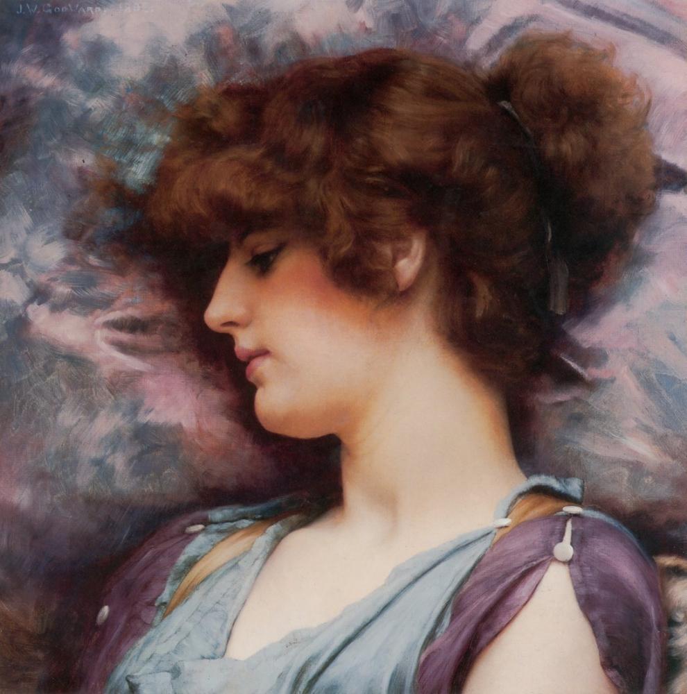 John William Godward Far Away Thoughts, Canvas, John William Godward, kanvas tablo, canvas print sales