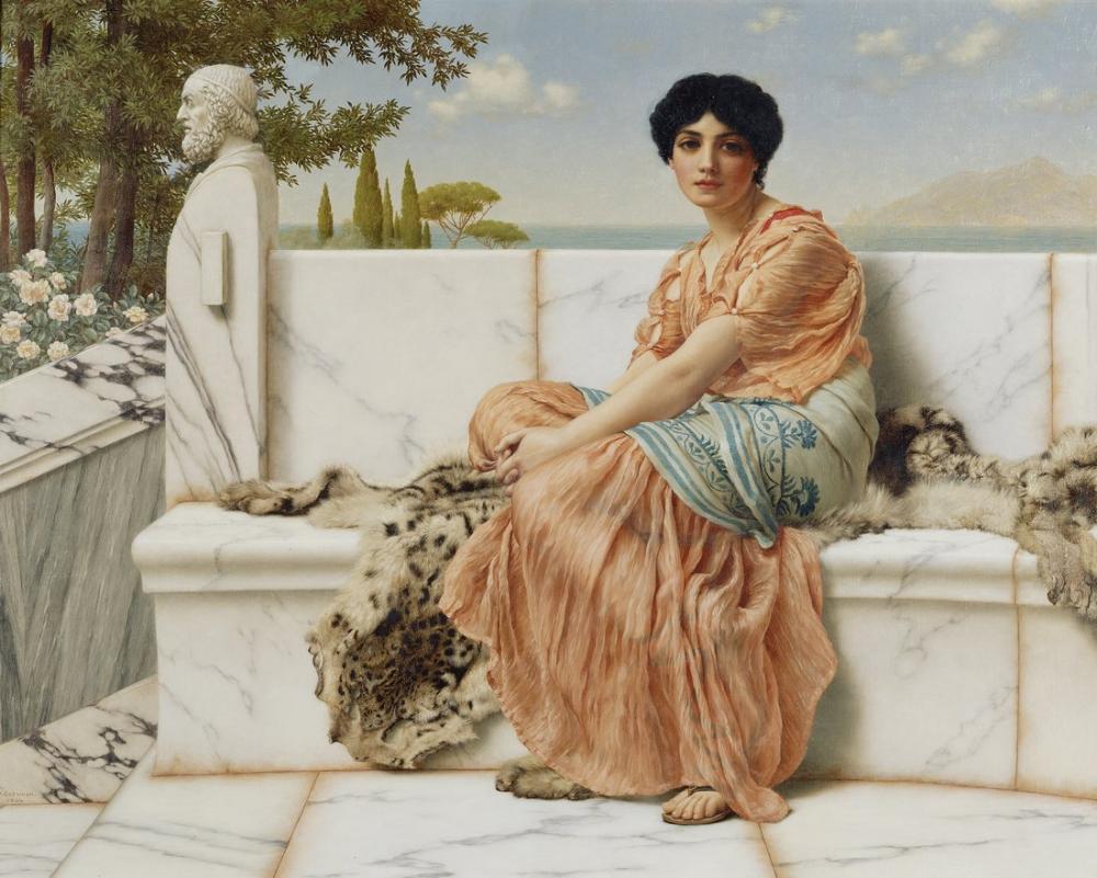 John William Godward In The Days Of Sappho, Canvas, John William Godward, kanvas tablo, canvas print sales