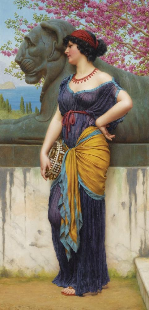 John William Godward In The Grove Of The Temple Of Isis, Canvas, John William Godward, kanvas tablo, canvas print sales