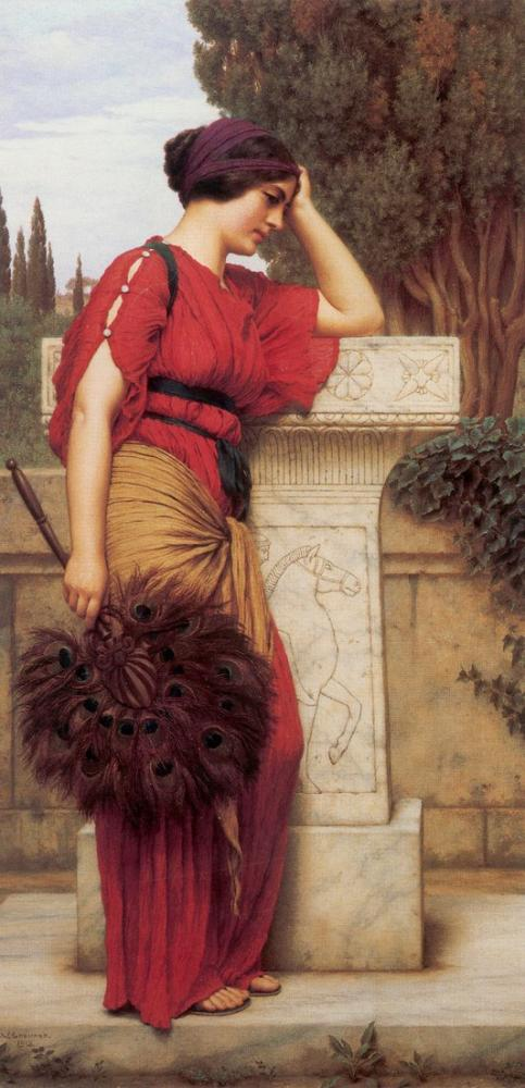 John William Godward Düşünceli, Kanvas Tablo, John William Godward, kanvas tablo, canvas print sales