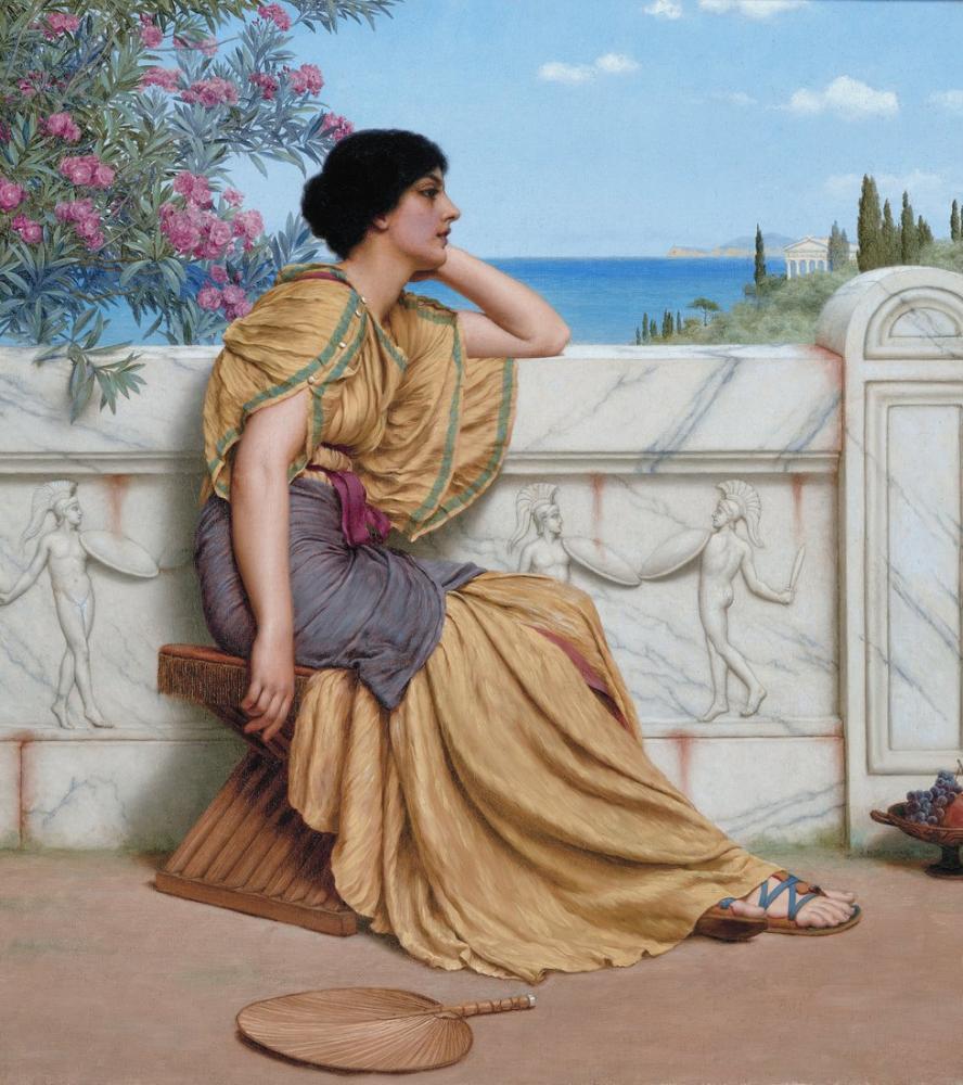 John William Godward Leisure Hours, Canvas, John William Godward, kanvas tablo, canvas print sales