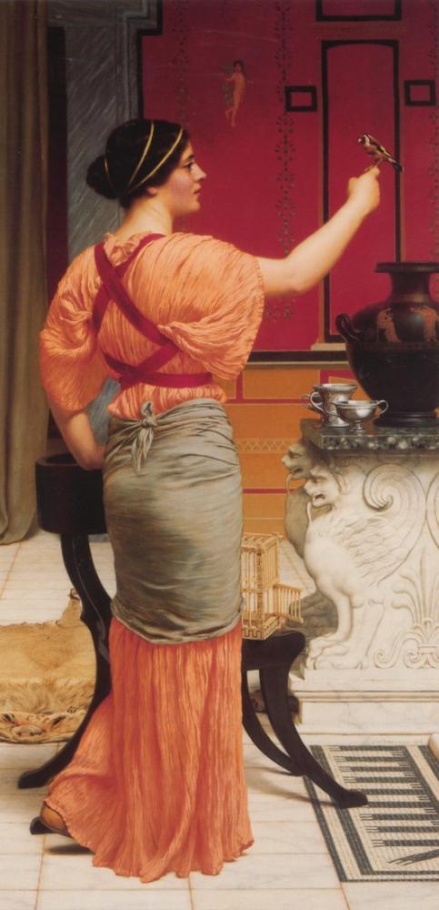 John William Godward Serçe İle Lesbia, Kanvas Tablo, John William Godward, kanvas tablo, canvas print sales