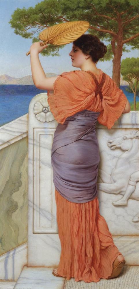 John William Godward On The Balcony, Canvas, John William Godward, kanvas tablo, canvas print sales