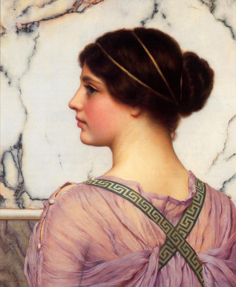John William Godward Bir Yunan Güzeli, Kanvas Tablo, John William Godward, kanvas tablo, canvas print sales