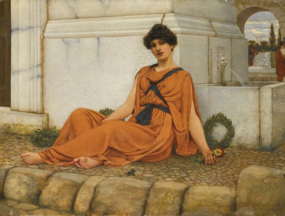 John William Godward Repose The Flower Girl, Canvas, John William Godward, kanvas tablo, canvas print sales