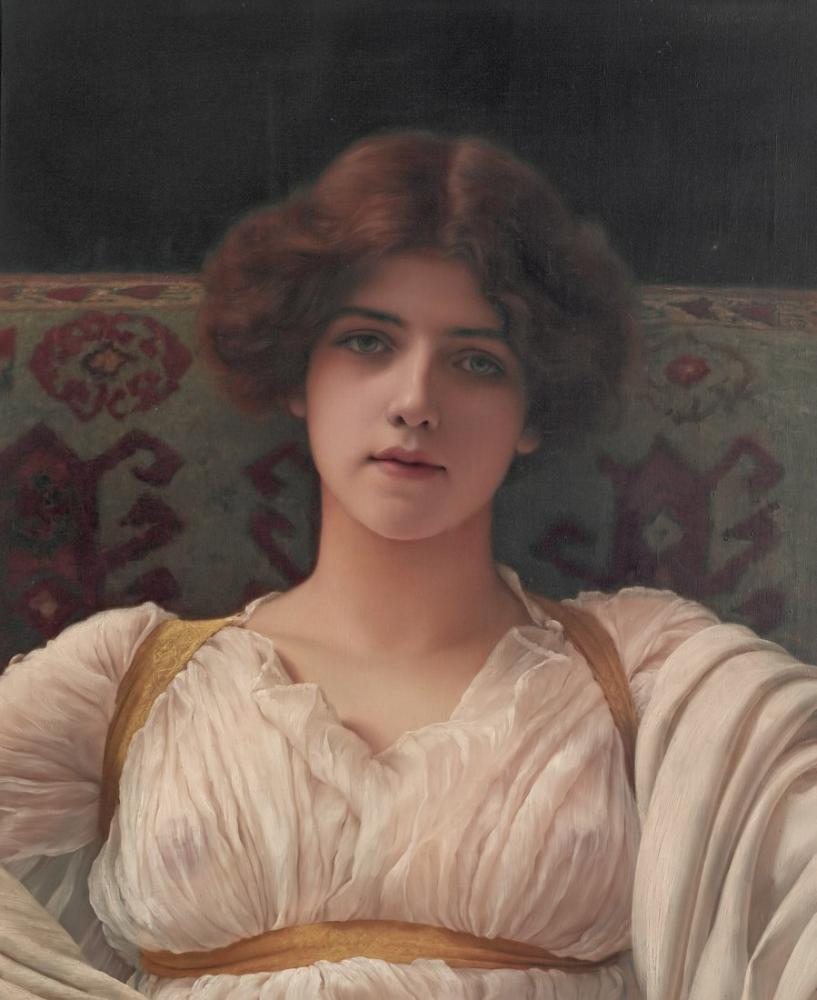 John William Godward Study Of Miss Ethel Warwick, Canvas, John William Godward, kanvas tablo, canvas print sales