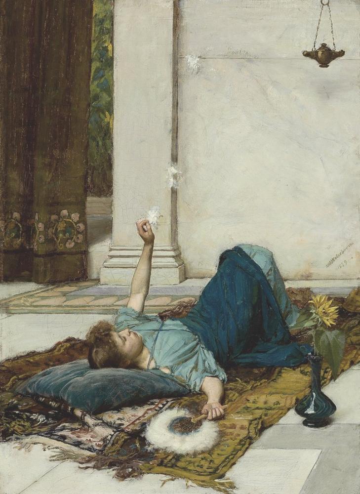 John William Waterhouse Hiçbir Şey Yapmayan Tatlılık, Kanvas Tablo, John William Waterhouse, kanvas tablo, canvas print sales