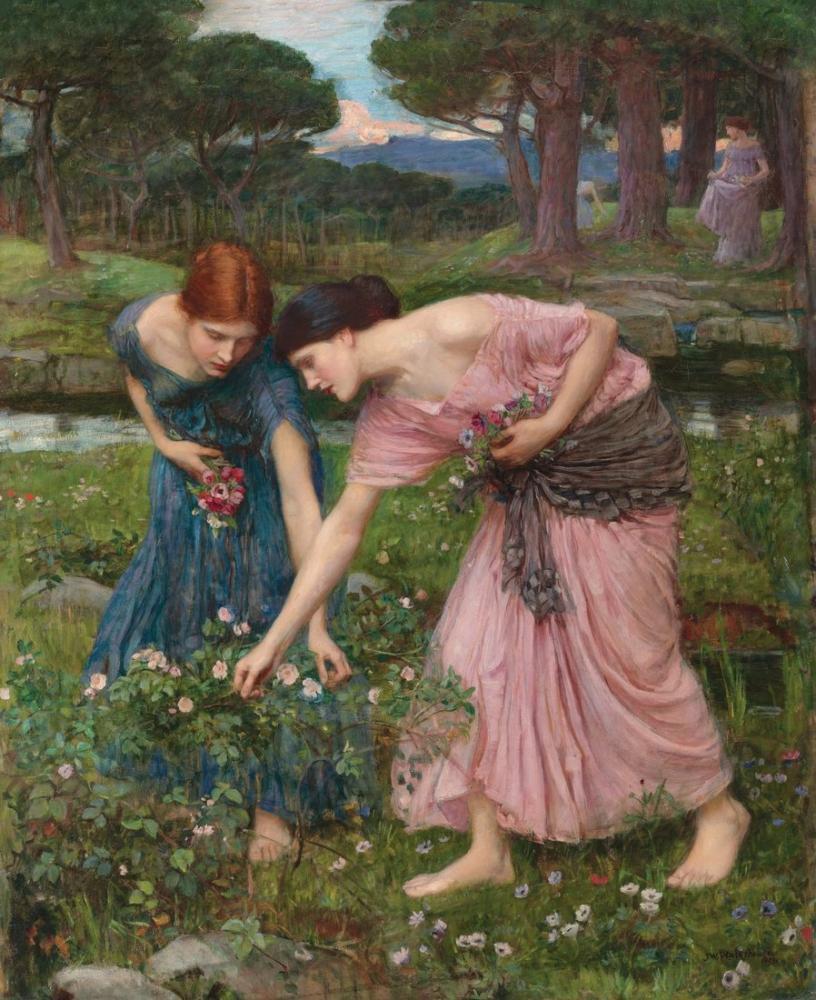 John William Waterhouse Mayıs Ayında Gonca Toplayın, Kanvas Tablo, John William Waterhouse, kanvas tablo, canvas print sales