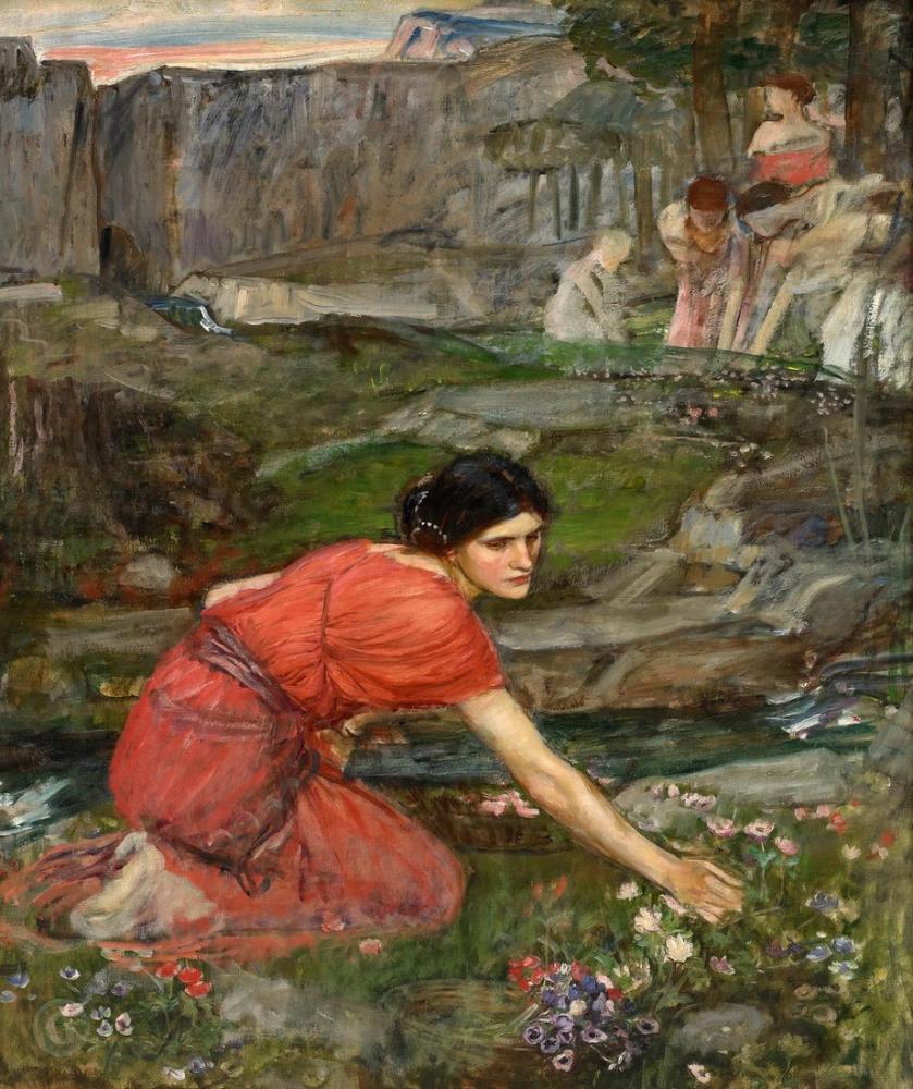 John William Waterhouse Bir Dere Çalışmasıyla Çiçek Toplayan Bakireler, Kanvas Tablo, John William Waterhouse, kanvas tablo, canvas print sales