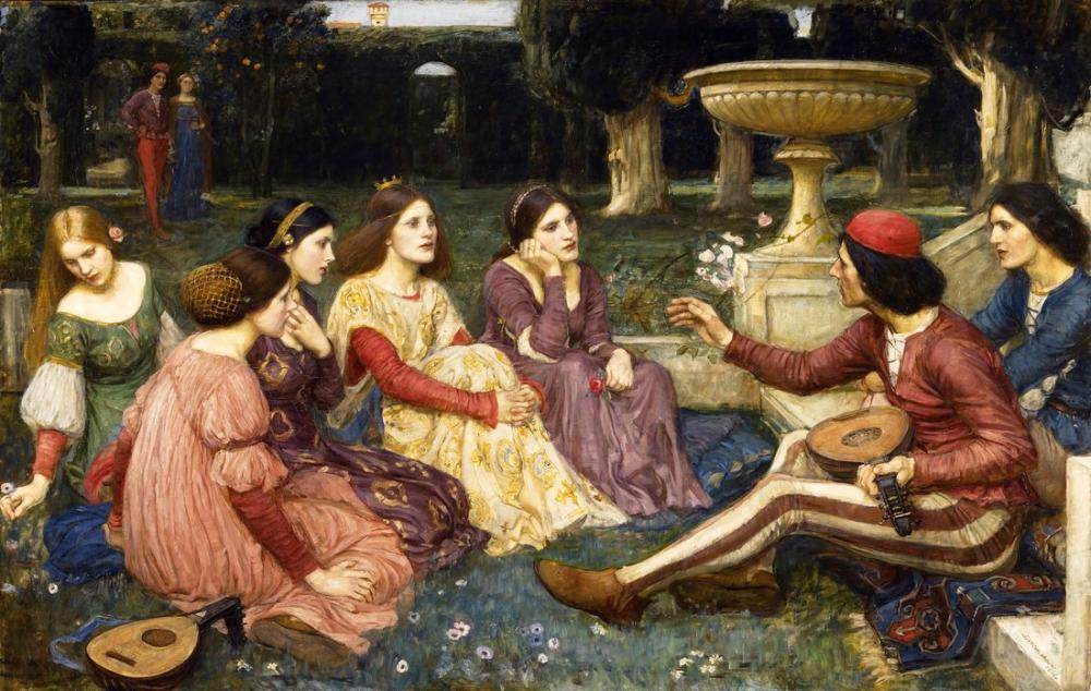 John William Waterhouse A Tale From The Decameron, Canvas, John William Waterhouse, kanvas tablo, canvas print sales