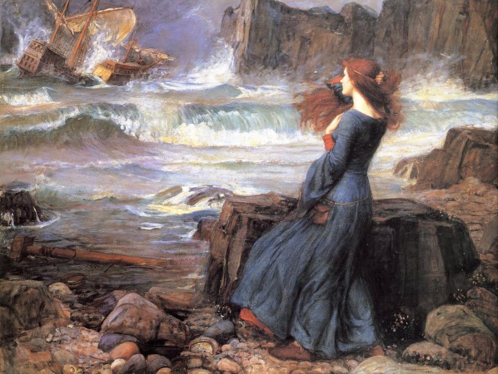John William Waterhouse Miranda En Fırtınalı, Kanvas Tablo, John William Waterhouse, kanvas tablo, canvas print sales