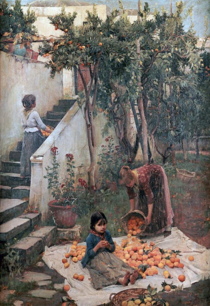John William Waterhouse Portakal, Kanvas Tablo, John William Waterhouse, kanvas tablo, canvas print sales