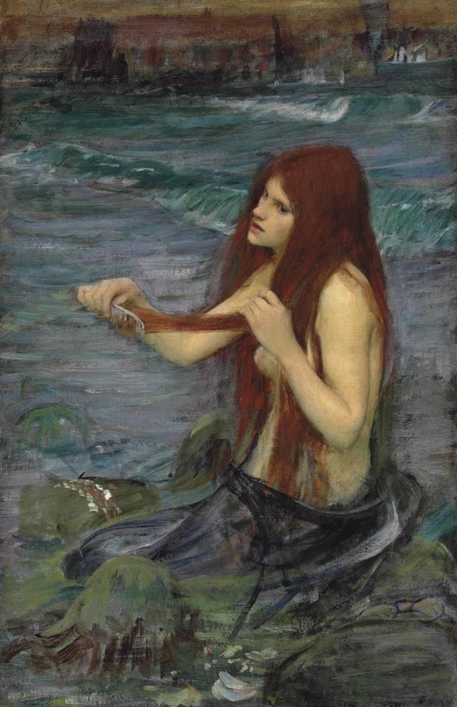 John William Waterhouse Sketch For A Mermaid, Canvas, John William Waterhouse, kanvas tablo, canvas print sales
