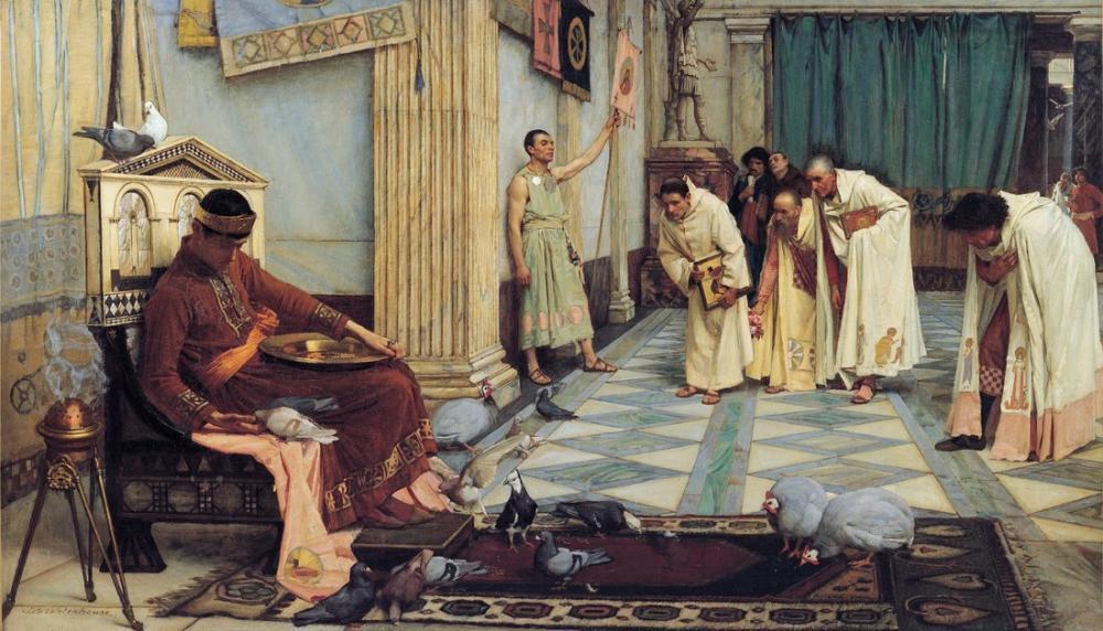 John William Waterhouse İmparator Honorius Favorileri, Kanvas Tablo, John William Waterhouse, kanvas tablo, canvas print sales