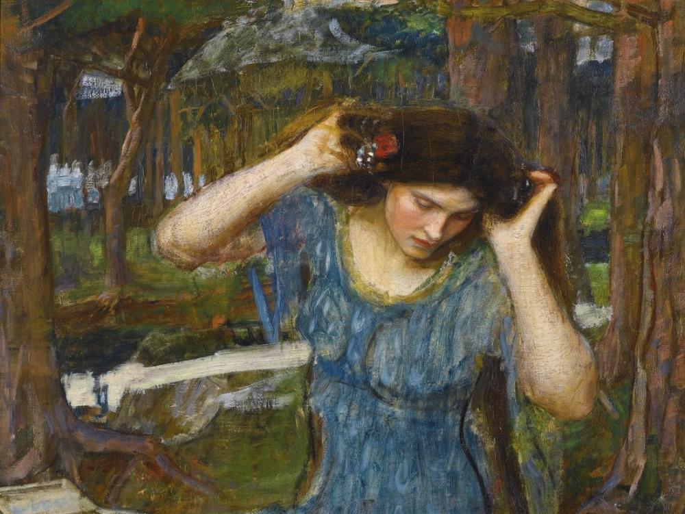 John William Waterhouse Vain Lamorna Lamia İçin Bir Çalışma, Kanvas Tablo, John William Waterhouse, kanvas tablo, canvas print sales