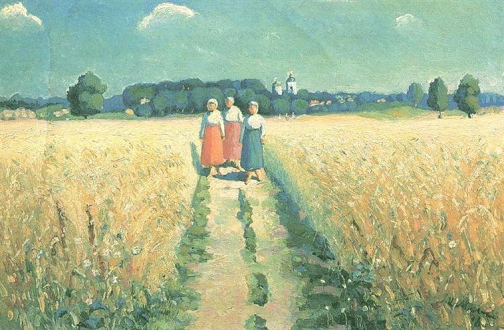 Kazimir Malevich Yolda Üç Kadın Yağlıboya Tablo, Kanvas Tablo, Kazimir Malevich, kanvas tablo, canvas print sales