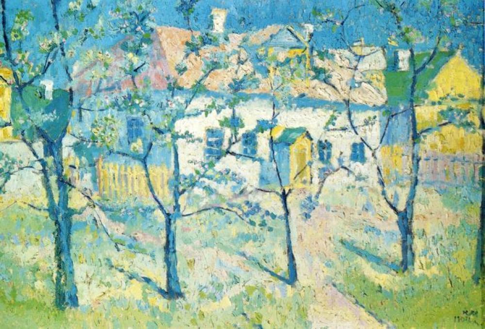 Kazimir Malevich Spring Garden in Blossom Oil Painting, Canvas, Kazimir Malevich