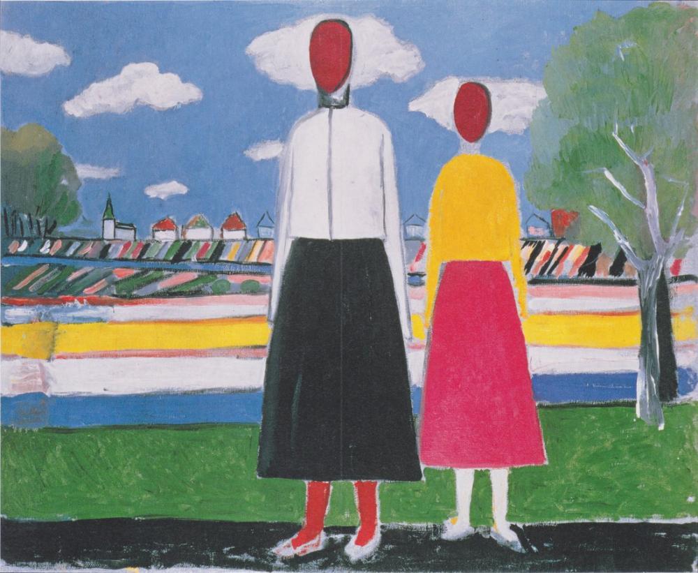 Kazimir Malevich Manzarada İki Figür, Kanvas Tablo, Kazimir Malevich, kanvas tablo, canvas print sales