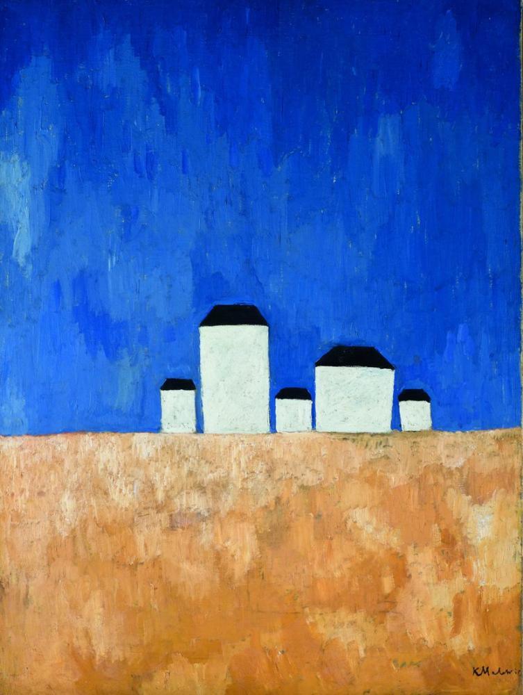 Kazimir Malevich Beş Evle Manzara, Kanvas Tablo, Kazimir Malevich, kanvas tablo, canvas print sales