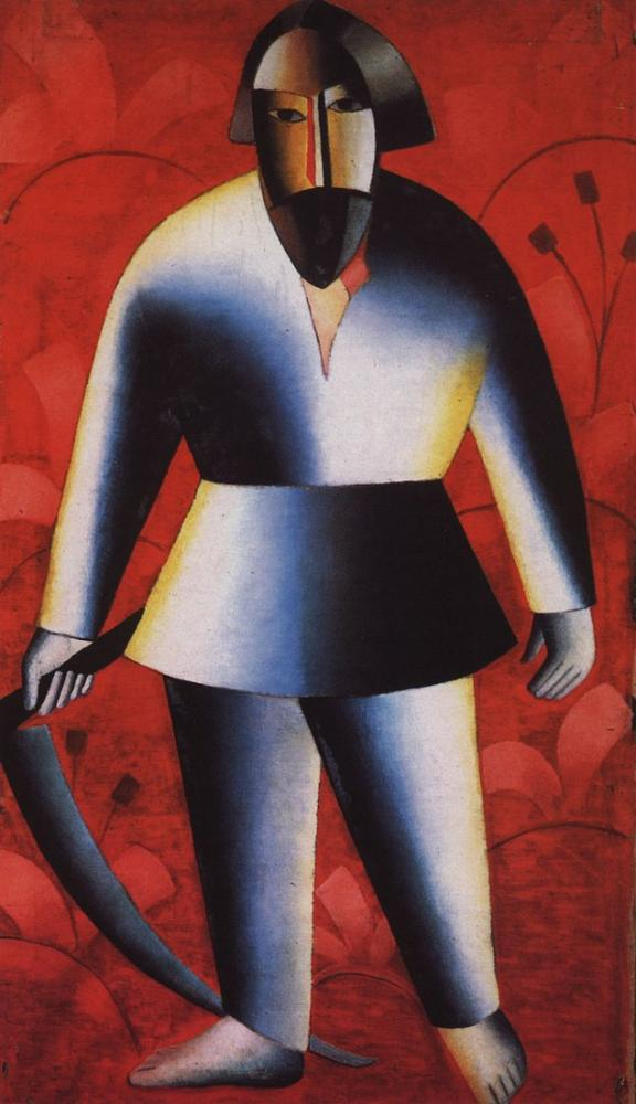 Kazimir Malevich Reaper On Red Background, Canvas, Kazimir Malevich, kanvas tablo, canvas print sales