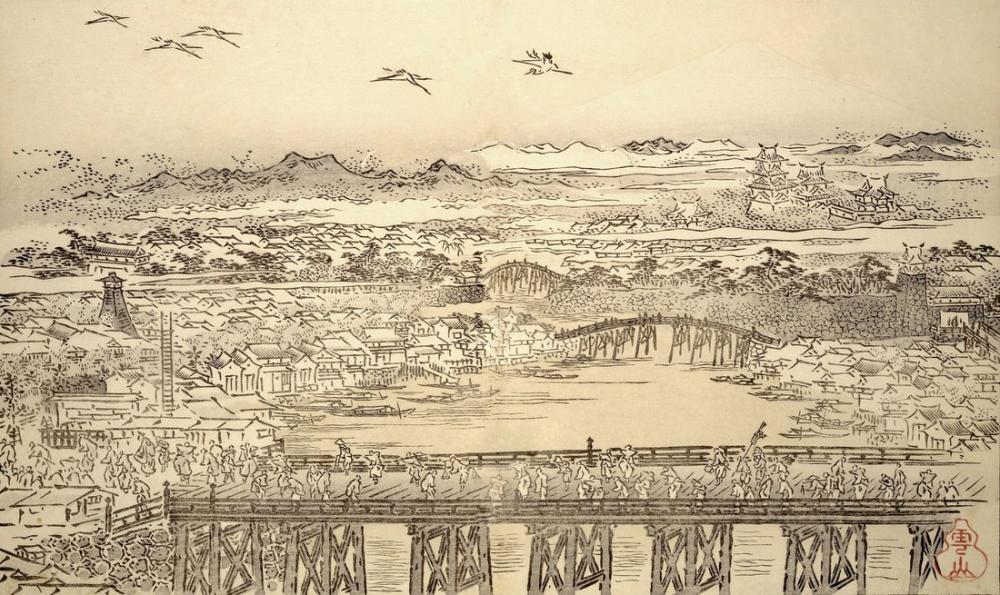 Kitagawa Utamaro, A Bridge, Canvas, Kitagawa Utamaro, kanvas tablo, canvas print sales