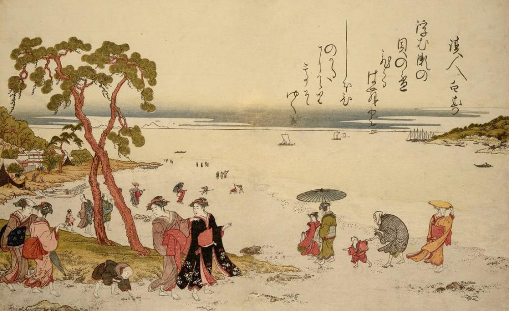 Kitagawa Utamaro, A Day On Seaside, Canvas, Kitagawa Utamaro, kanvas tablo, canvas print sales
