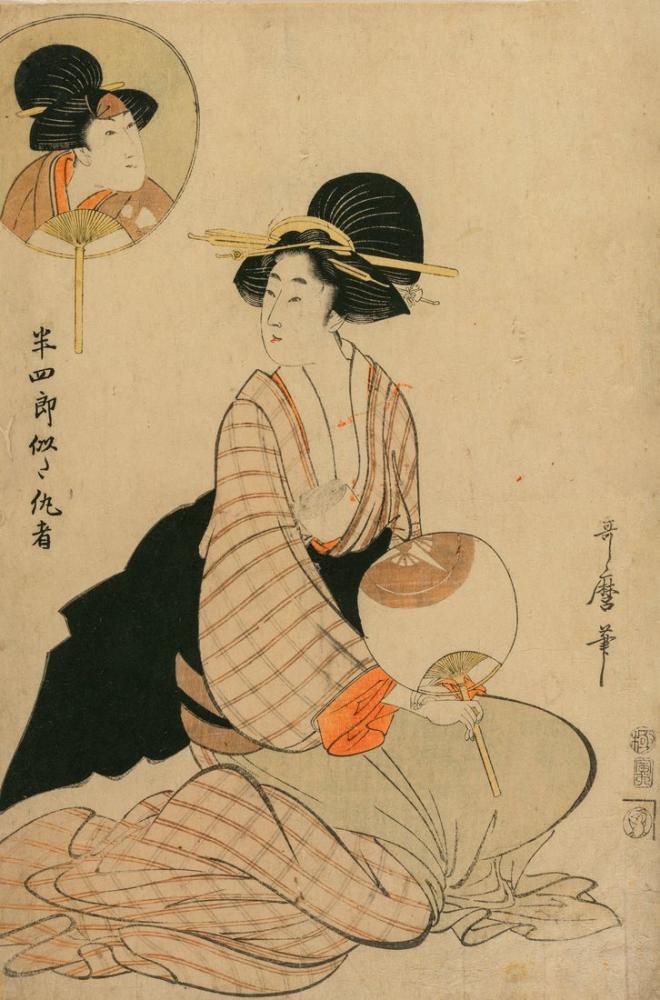 Kitagawa Utamaro, An Attractive Woman who Looks Like the Actor Iwai Hanshiro V, Canvas, Kitagawa Utamaro, kanvas tablo, canvas print sales