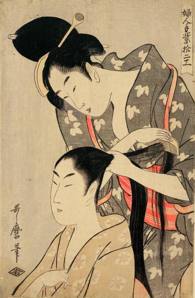 Utamaro Kitagawa, Kuaförlük, Kanvas Tablo, Kitagawa Utamaro, kanvas tablo, canvas print sales