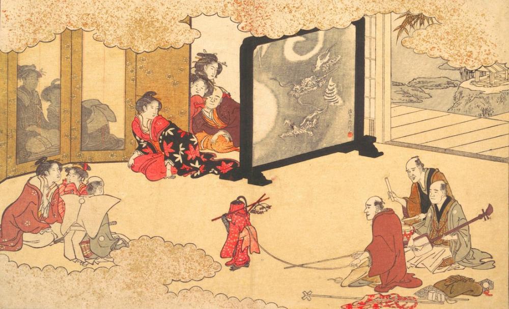 Kitagawa Utamaro, Monkey Trainer Performing at a Nobleman s House, Canvas, Kitagawa Utamaro, kanvas tablo, canvas print sales