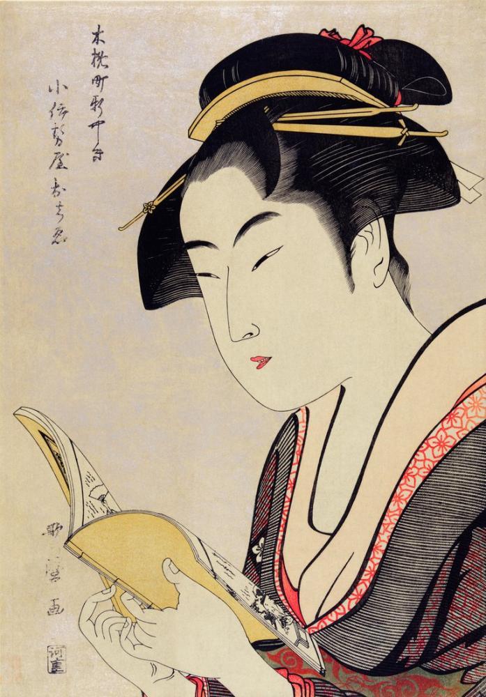 Kitawaga Utamaro, A Woman Reading A Book, Canvas, Kitagawa Utamaro, kanvas tablo, canvas print sales