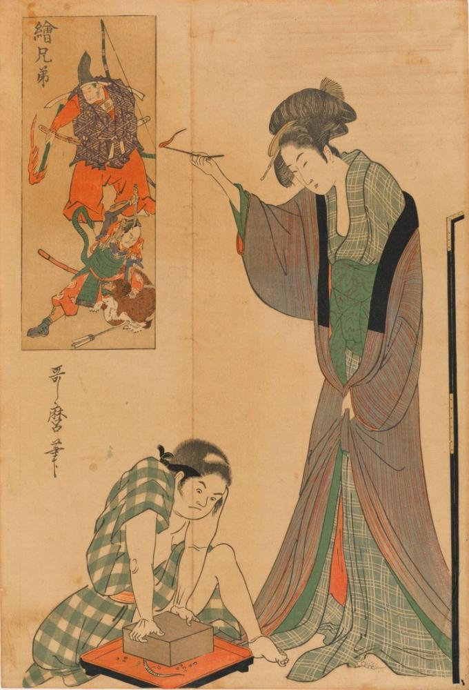 Kitagawa Utamaro, Catching a Mouse, Canvas, Kitagawa Utamaro, kanvas tablo, canvas print sales