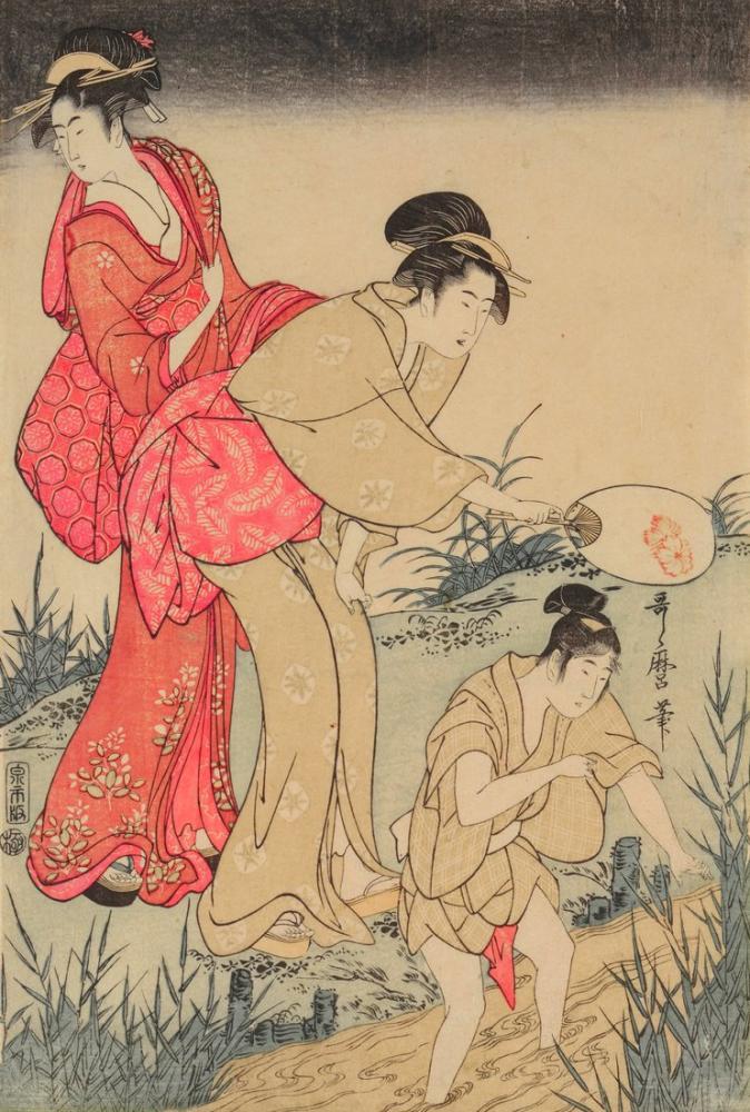 Kitagawa Utamaro, Catching Fireflies Beneath a Willow Tree 3, Canvas, Kitagawa Utamaro, kanvas tablo, canvas print sales