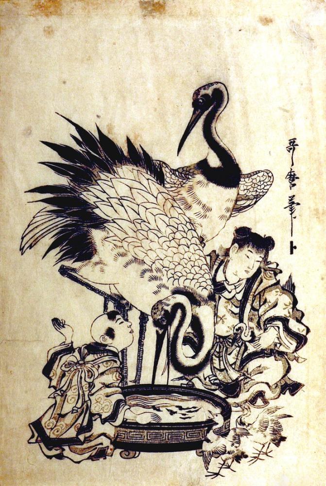 Kitagawa Utamaro, Chinese Children and Cranes, Canvas, Kitagawa Utamaro, kanvas tablo, canvas print sales