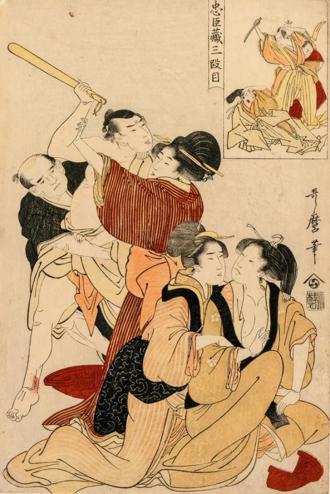 Kitagawa Utamaro, Chushingura Act III of The Storehouse of Loyalty, Canvas, Kitagawa Utamaro, kanvas tablo, canvas print sales