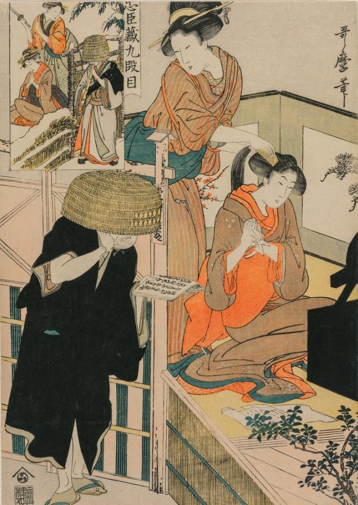 Kitagawa Utamaro, Chushingura Act IX of The Storehouse of Loyalty, Canvas, Kitagawa Utamaro, kanvas tablo, canvas print sales